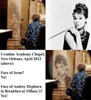 Ursulines Academy chapel mystery image is Audrey Hepburn, not Jesus
