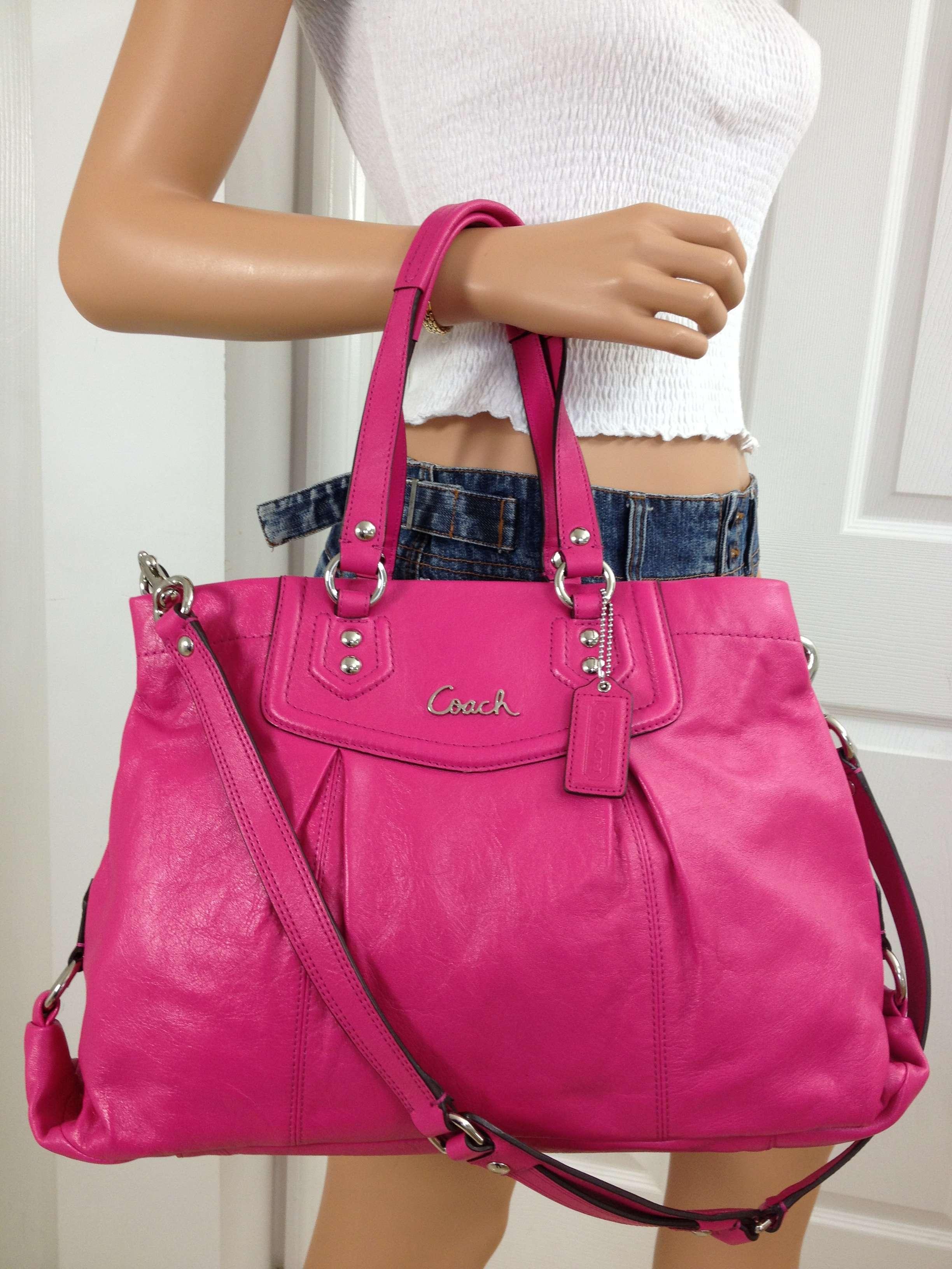 Authentic Pink Leather Coach Bag 1d6df 09c30